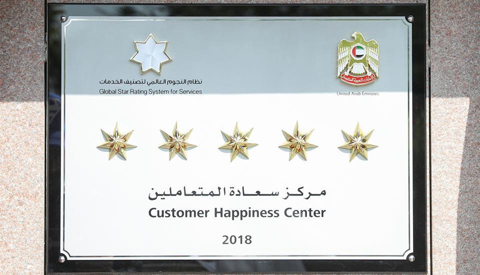 """حمدان بن محمد يزيح الستار عن لوحة الخمس نجوم بمركز سعادة المتعاملين في """"زايد للإسكان"""" بدبي"""