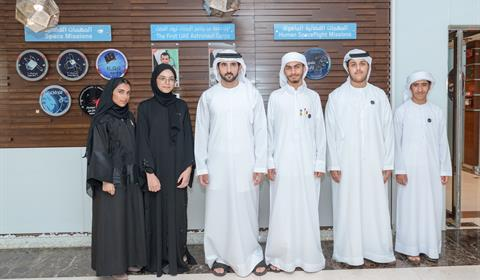 Hamdan bin Mohammed receives UAE team participating in FIRST Global DXB Challenge