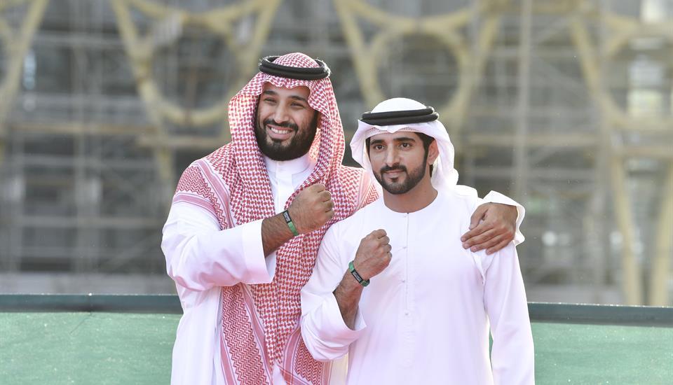 "حمدان بن محمد ومحمد بن سلمان يزوران موقع ""أكسبو 2020 دبي"""