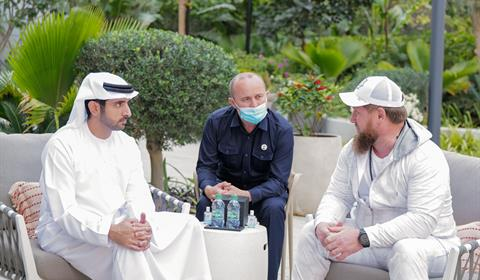 حمدان بن محمد يستقبل رئيس جمهورية الشيشان الزائر