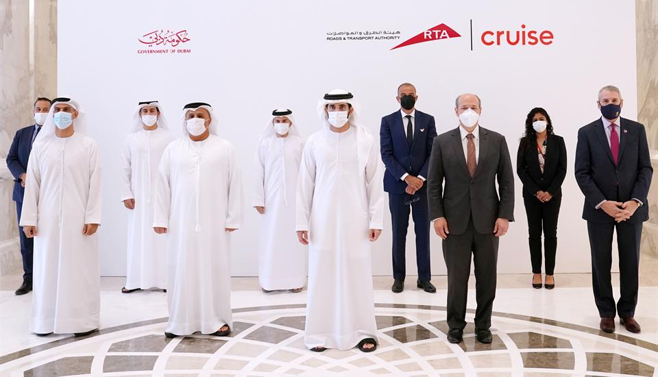 Hamdan bin Mohammed attends signing of agreement between RTA and Cruise to operate self-driving taxis and ride-hailing services in Dubai